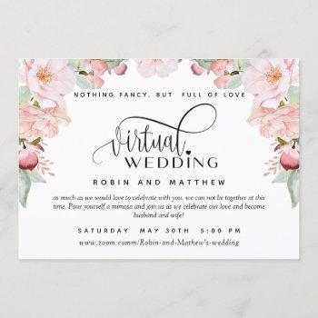 blush pink floral  online virtual wedding invitation
