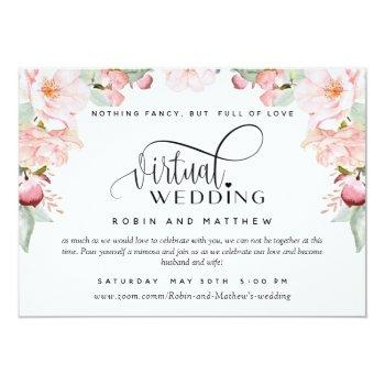Small Blush Pink Floral  Online Virtual Wedding Invitation Front View