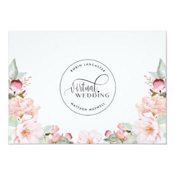 Small Blush Pink Floral  Online Virtual Wedding Invitation Back View