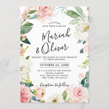 blush pink florals modern botanical frame wedding invitation