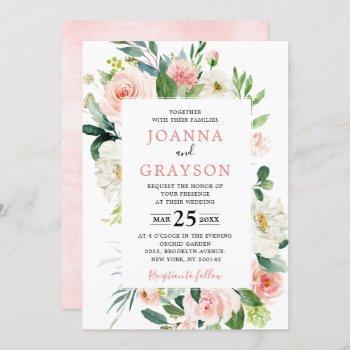 blush pink florals modern botanical wedding invitation