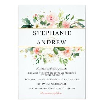 Small Blush Pink Florals Modern Gold Geometric Wedding Invitation Front View