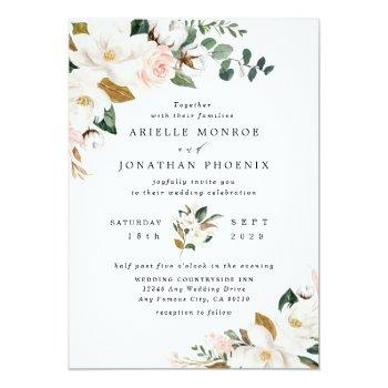 Small Blush Pink Gold And White Magnolia Floral Wedding Invitation Front View