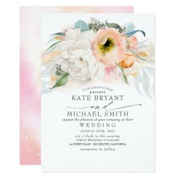 blush pink peach and white floral elegant wedding invitation