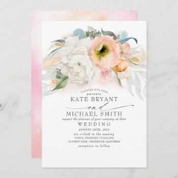 blush pink peach and white floral elegant wedding invitation