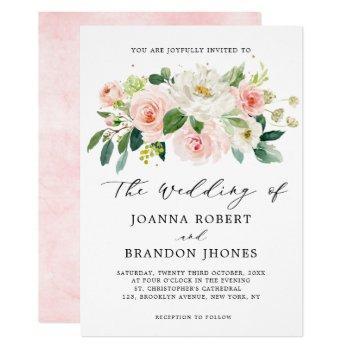 blush pink rose florals modern botanical wedding invitation