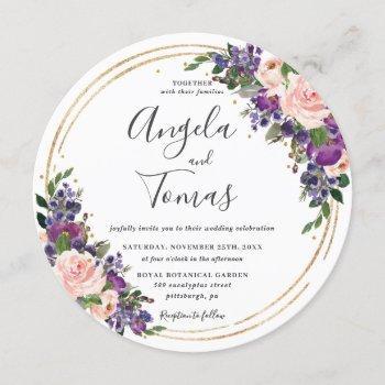 blush purple floral wedding gold glitter circle invitation