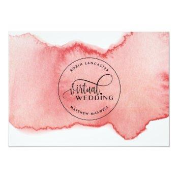 Small Blush Rose Gold Watercolor, Online Virtual Wedding Invitation Back View