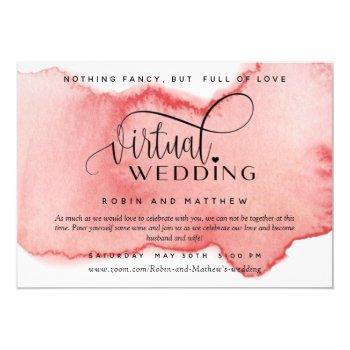 blush rose gold watercolor, online virtual wedding invitation