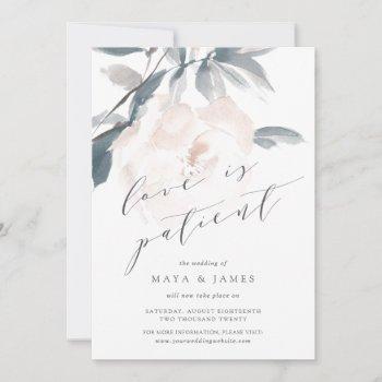 blush whisper love is patient wedding postponement announcement