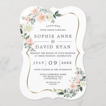 blush white flowers gold all in one wedding invitation