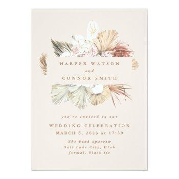 blush wreath pampas grass floral jungle wedding invitation