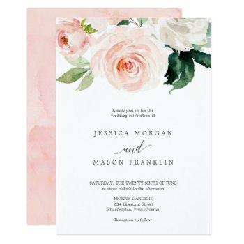 blushing blooms wedding invitation