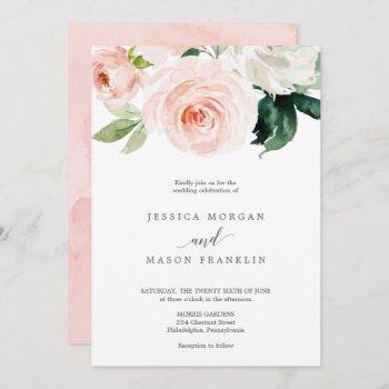 blushing blooms wedding invitation