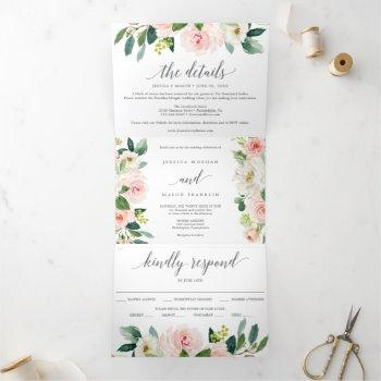 blushing blooms wedding tri-fold invitations rsvp