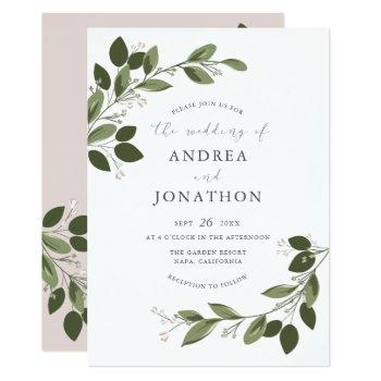 blushing sprigs wedding invite with pink back