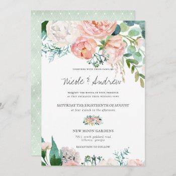 blushing summer | watercolor floral wedding invitation