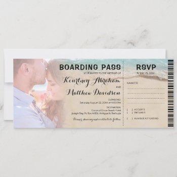 boarding pass beach photo rsvp & wedding invitation