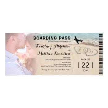 boarding pass beach photo wedding invitation