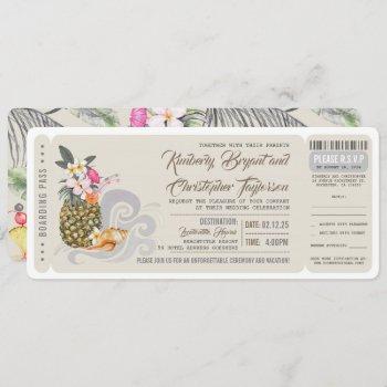 boarding pass | beach pineapple | wedding ticket invitation