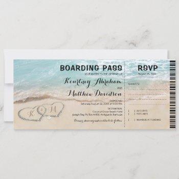boarding pass beach rsvp & wedding invitation