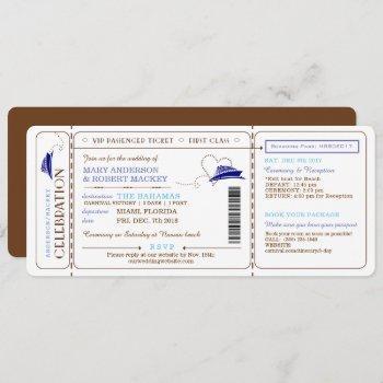 boarding pass cruise ticket wedding invitation