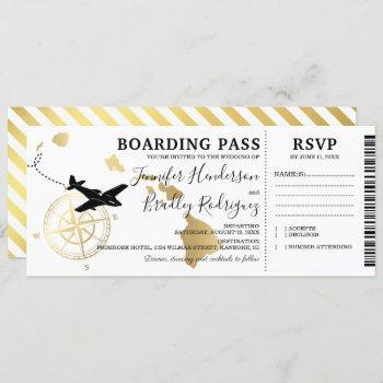 boarding pass destination hawaii wedding invitation