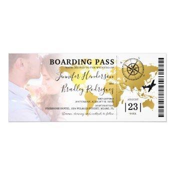 boarding pass destination photo wedding invitation