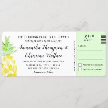 boarding pass destination wedding rsvp ticket invitation