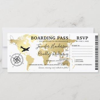 boarding pass destination wedding world map invitation