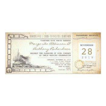 boarding pass nautical vintage wedding invitations
