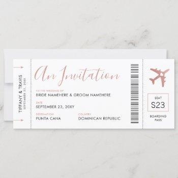 boarding pass plane ticket pink wedding invitation