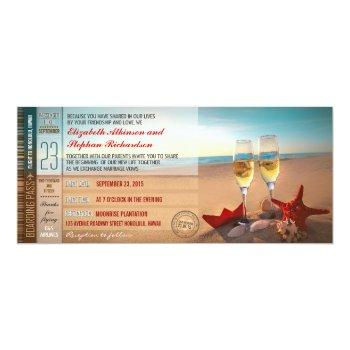 boarding pass tickets modern beach wedding invitation