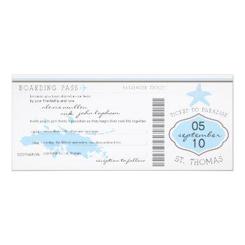 boarding pass to st. thomas wedding invitation