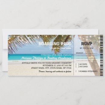 boarding pass tropical beach flamingo wedding invitation