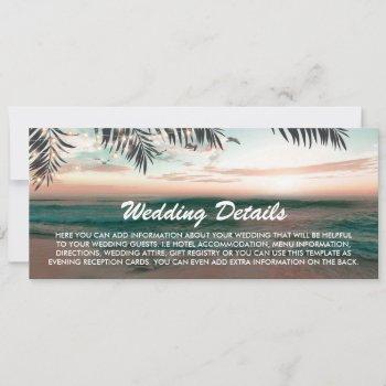 boarding pass tropical beach wedding details invitation
