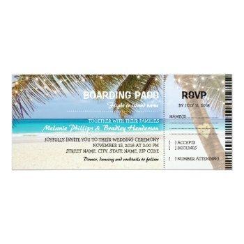 boarding pass tropical beach wedding invitation