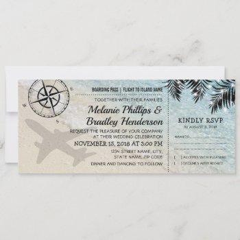 boarding pass tropical paradise beach wedding invitation
