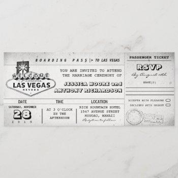 boarding pass wedding tickets las vegas invitation
