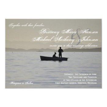 boat & couple silhouette lake wedding invitation