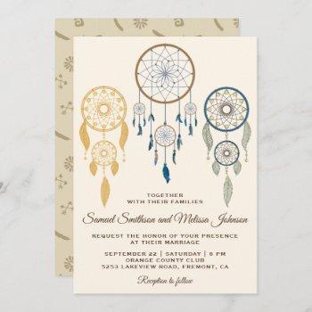 bohemian dream catcher tribal wedding invitation