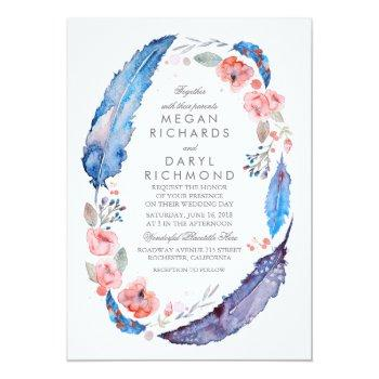 bohemian floral feathers rustic wedding invitation