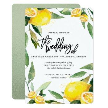 bohemian lemon and leaves wedding invitation