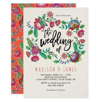 bohemian orange folk flowers boho chic wedding invitation