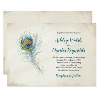bohemian peacock feather vintage teal wedding invitation