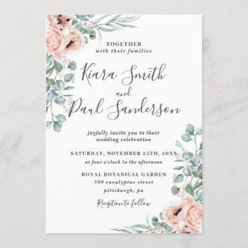 boho blush dusty pink floral eucalyptus wedding invitation