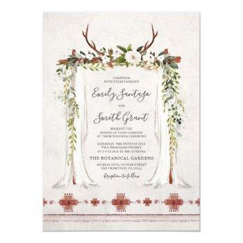 boho bohemian floral antlers arch canopy wedding invitation