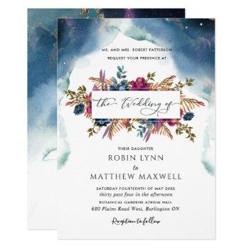 boho celestial blue,teal and purple floral wedding invitation