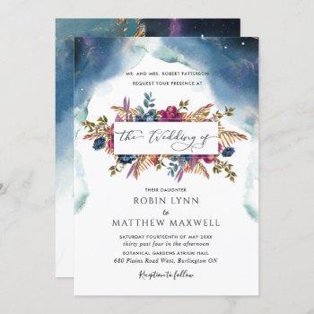 boho celestial blue,teal and purple floral wedding invitation