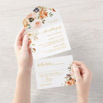 boho chic autumn gold leaves floral wedding all in one invitation